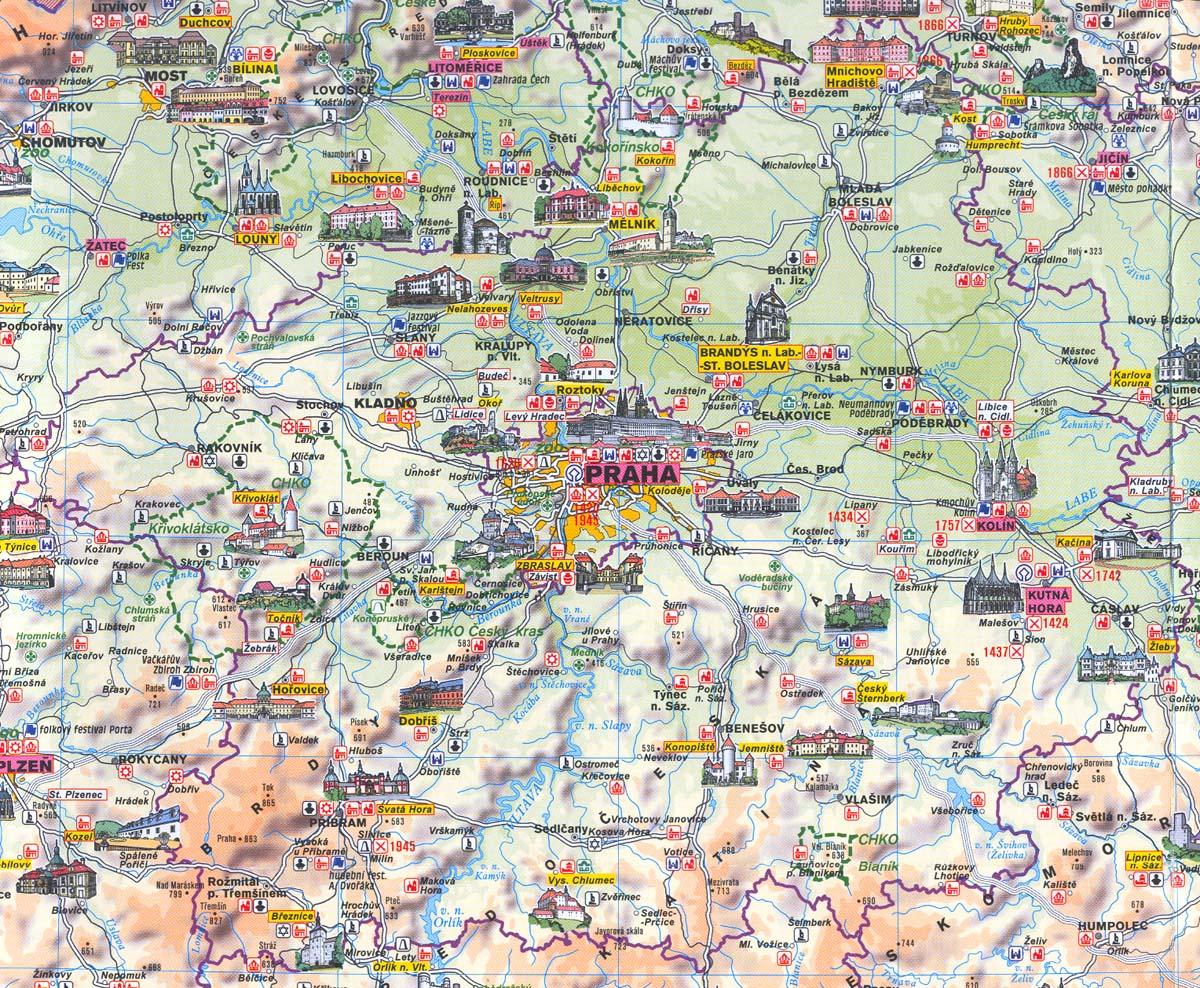 Mapa Hrady A Zamky Stredni Cechy Mapa